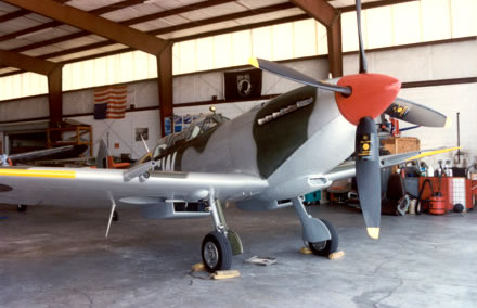 Two place British flying Spitfire sporting new paint job by BSA